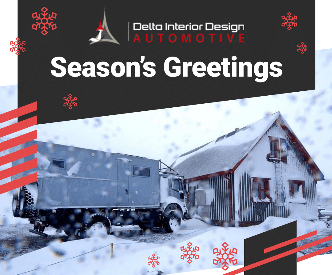 Delta Automotive expedition truck Christmas with snow